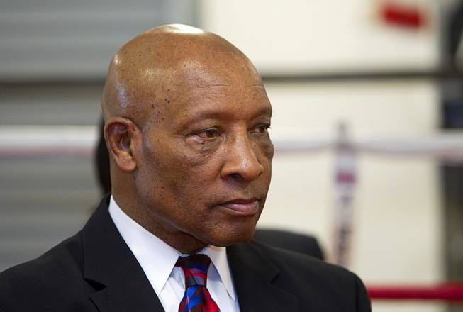 Former boxing referee Richard Steele is shown during a Nevada Boxing Hall of Fame (NVBHOF) news conference at the Richard Steele Boxing Club in North Las Vegas Wednesday, Dec. 19, 2012.  Induction will take place in 2013.