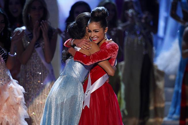 Miss USA Olivia Culpo, right, is congratulated by Miss Philippines Janine Tugonon after being named Miss Universe during the 2012 Miss Universe Pageant at Planet Hollywood on Wednesday, Dec. 19, 2012. Tugonon was first runner-up.