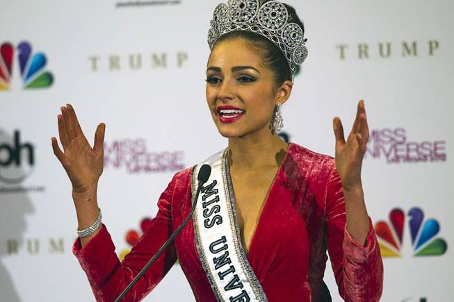 Miss USA Olivia Culpo responds to questions from reporters after winning the 2012 Miss Universe Pageant at Planet Hollywood on Wednesday, Dec. 19, 2012.