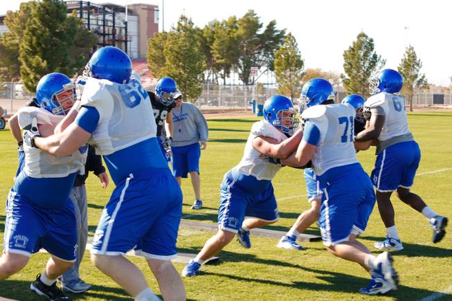 Boise State football team prepares for their upcoming game Saturday when they face off against Washington in the 2012 MACCO Bowl Las Vegas, Thursday Dec. 19, 2012.