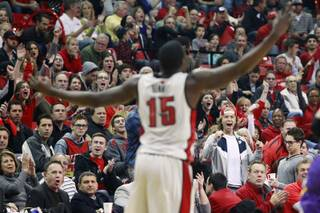UNLV fans cheer after an Anthony Bennet dunk against UNI during their game Wednesday, Dec. 19, 2012 at the Thomas & Mack.