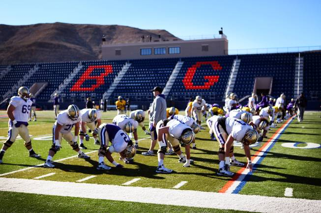 The Washington football team practices at Bishop Gorman High School in Las Vegas on Wednesday, December 19, 2012. Washington is preparing to face Boise State in Saturday's Maaco Bowl Las Vegas
