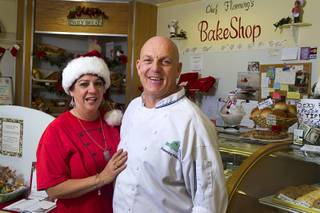 Chef Flemming Pedersen and his wife Chere pose at Chef Flemmings Bake Shop, a European-style bakery, on Water Street in downtown Henderson Thursday, Dec. 20, 2012.