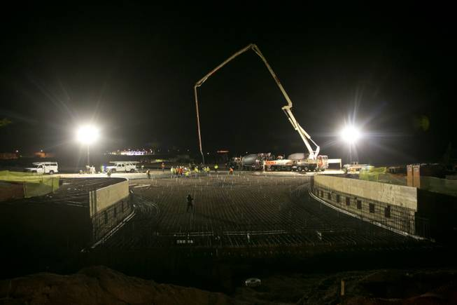 Concrete is poured to lay foundation to the 17,000-square-foot wave pool at Las Vegas' newest attraction Wet 'n' Wild, a 41-acre water park expected to open in Spring of 2013, Thursday, Dec. 20, 2012.