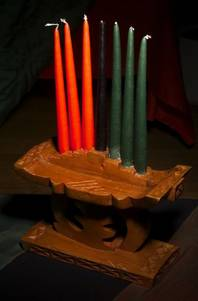 Mishumaa Saba (the seven candles) are ceremonial objects with two primary purposes: to recreate symbolically the sun's power and to provide light. Photographed Thursday, December 21, 2000 at West Las Vegas Arts Center.