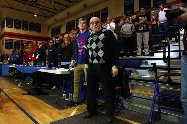Jerry Tarkanian gets a standing ovation between games in the inaugural Jerry Tarkanian Classic Thursday, Dec. 20, 2012.
