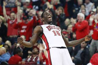 UNLV forward Anthony Bennett celebrates his three-point basket against Canisius during the first half of their game Saturday, Dec. 22, 2012 at the Thomas & Mack.
