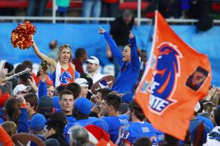 Boise State fans cheer on the field after their 28-26 win over Washington in the Maaco Bowl Las Vegas game Saturday, Dec. 22, 2012 at Sam Boyd Stadium.