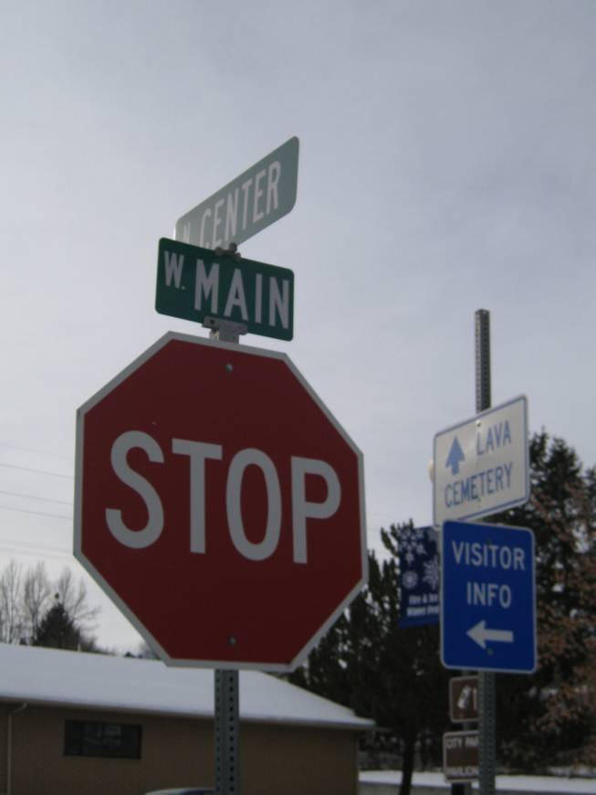 A stop sign -- make that, THE stop sign -- in Lava Hot Springs, Idaho, Saturday, Dec. 22, 2012.