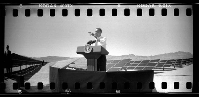 President Barack Obama speaks at the Copper Mountain Solar facility south of Boulder City.