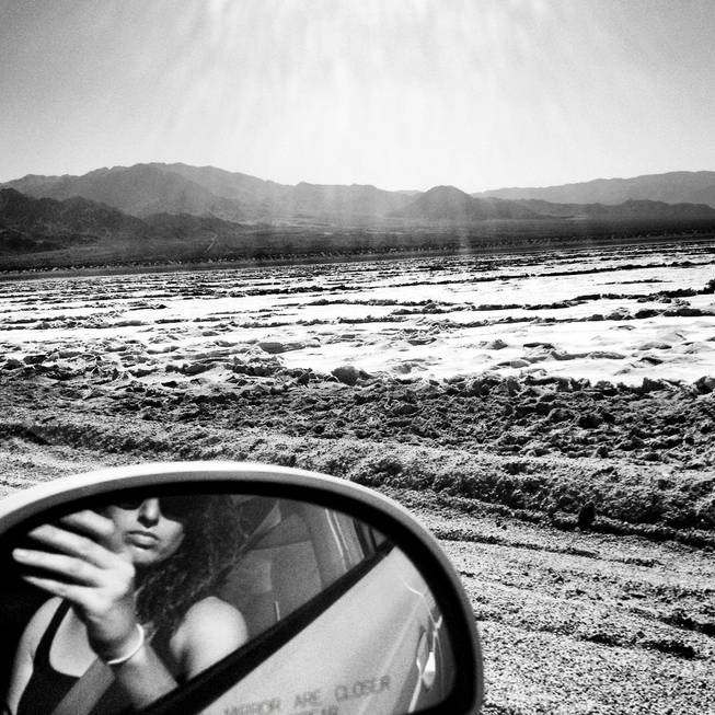 Self portrait at the salt flats on Amboy Road in California on October 20, 2012.