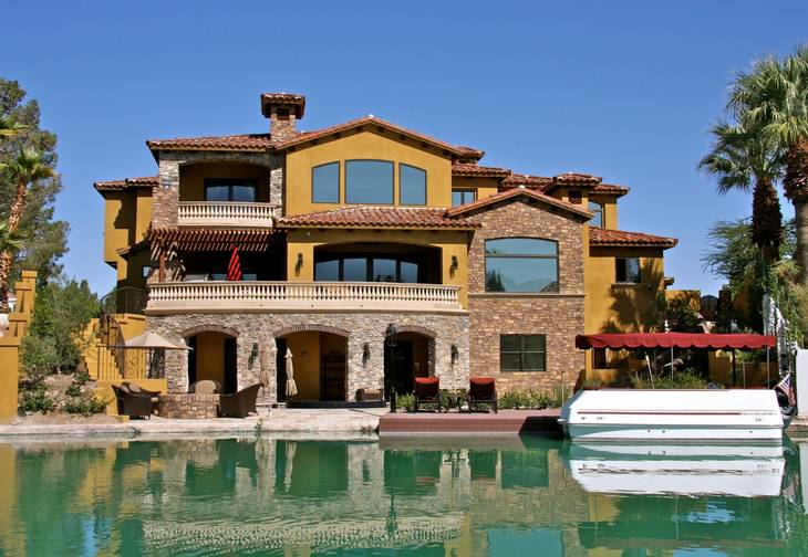 The residence at 2812 Coast Line Court is shown from Lake Sahara. A boat dock and an Irish pub are among the amenities of the home, which sold for $2.9 million in February 2012.