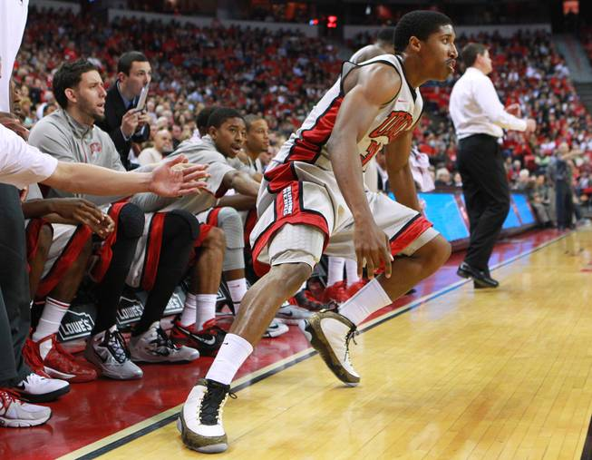 UNLV guard Justin Hawkins wears a pair of Nike Air Jordan 9 'Doernbecher' shoes, which had been released the day before, during the Runnin' Rebels game against Hawaii Nov. 30, 2012.