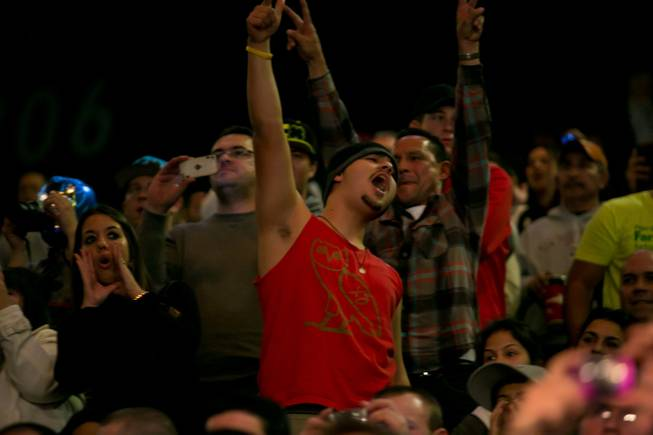 Fans cheer during the Dos Santos Velasquez weigh in for UFC 155, Friday, Dec. 28, 2012.