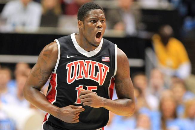 UNLV forward Anthony Bennett reacts after dunking on North Carolina during their game Saturday, Dec. 29, 2012 at the Dean Smith Center in Chapel Hill, N.C. North Carolina won the game 79-73.