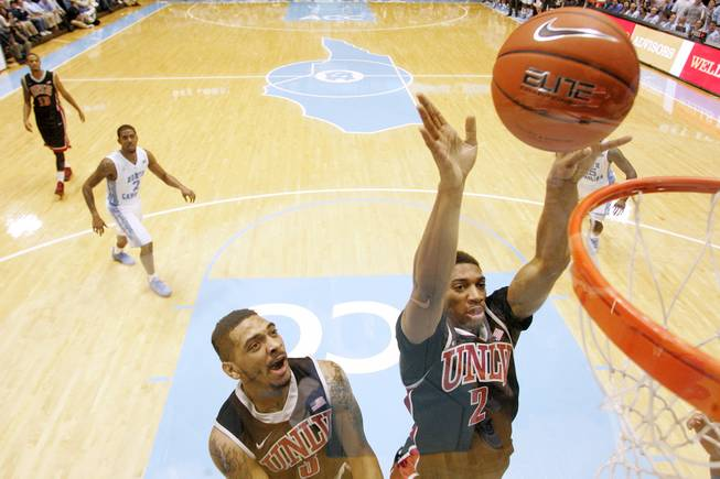 UNLV forward Khem Birch throws in a put back agasint North Carolina during their game Saturday, Dec. 29, 2012 at the Dean Smith Center in Chapel Hill, N.C. North Carolina won the game 79-73.