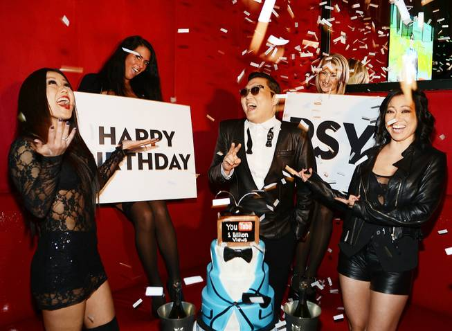 Psy celebrates his 35th birthday at Pure in Caesars Palace ...