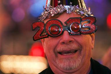 David Harley of Canada celebrates during the New Years Eve party at the Fremont Street Experience Monday, Dec. 31, 2012.