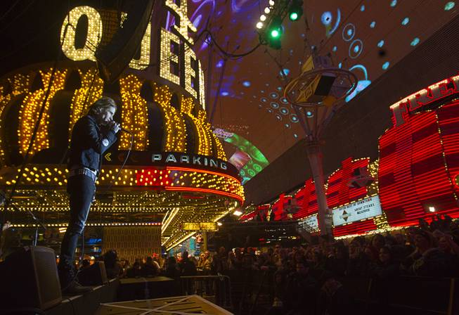 Jizzy Pearl performs during the New Years Eve party at the Fremont Street Experience Monday, Dec. 31, 2012.