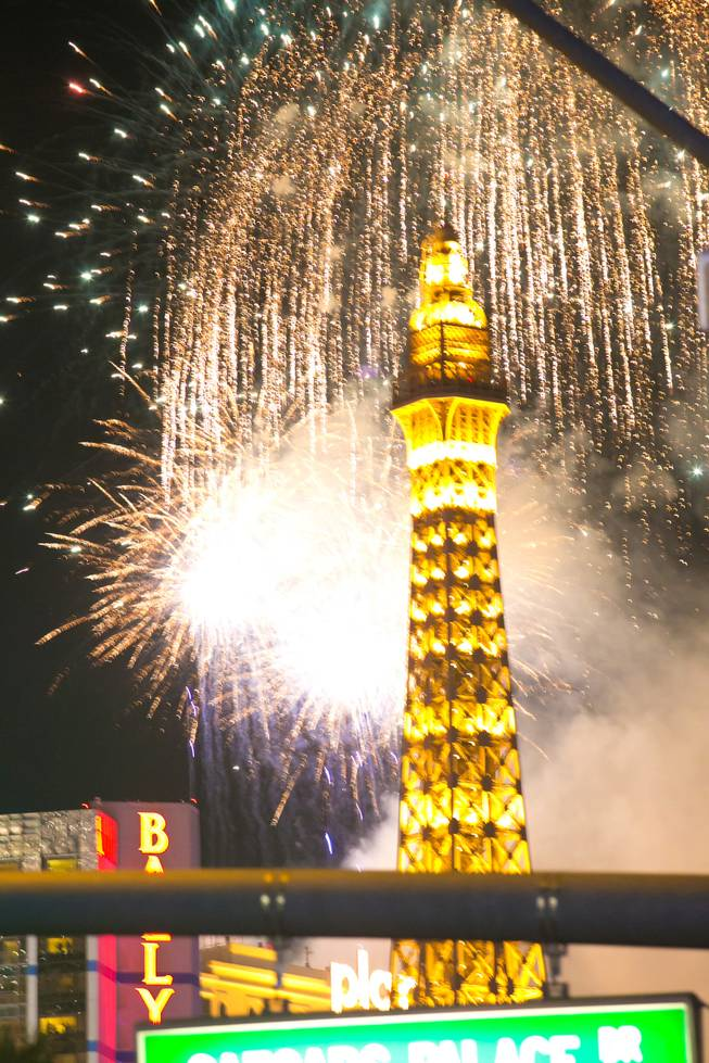 Fireworks fill the sky during the midnight New Year's Eve celebration on The Strip, Monday, Dec. 31, 2012.