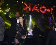 Kanye West and Kim Kardashian celebrate New Year's Eve at 1OAK in the Mirage on Monday, Dec. 31, 2012.