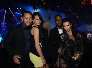 John Legend, Chrissy Teigen, Kanye West and Kim Kardashian celebrate New Year's Eve at 1OAK in the Mirage on Monday, Dec. 31, 2012.