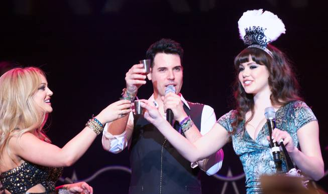 "Lacey Schwimmer, Frankie Moreno and Claire Sinclair celebrate the announcement of the show ""Pin Up"" at the Stratosphere."