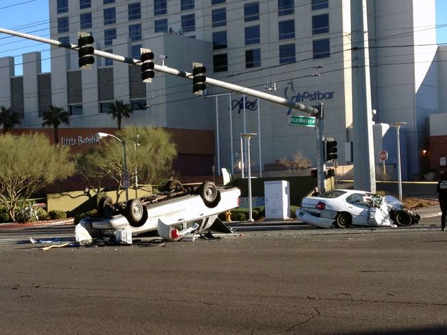 Metro Police investigate after a fatal crash on Flamingo Road on New Year's Day.