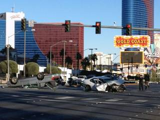 Metro Police investigate a fatal accident on Flamingo Road, Jan. 1, 2013.