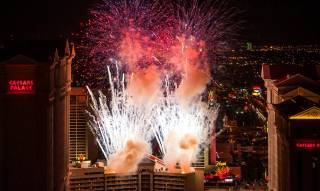 New Year's Eve fireworks above the Strip as seen from atop the Rio on Monday, Dec. 31, 2012.