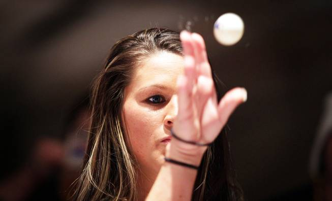 Breena Smith of Texas plays during the World Series of Beer Pong at the Flamingo in Las Vegas on Thursday, January 3, 2013.