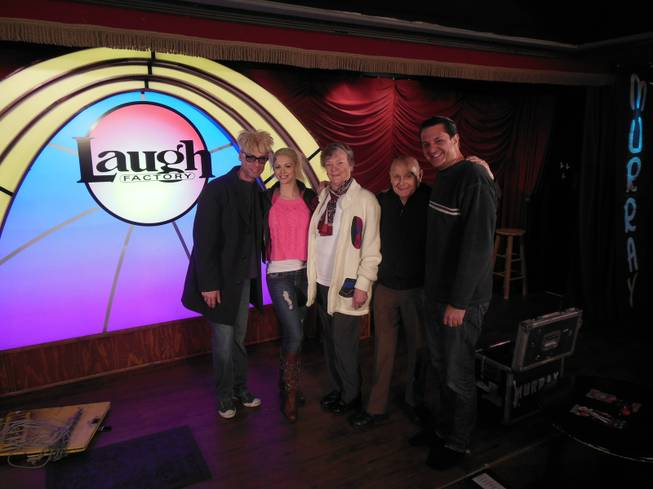"John and Arlene Sawchuck attend their son Murray Sawchuck's show at The Laugh Factory in the Tropicana on Friday, Dec. 21, 2012. Murray's wife Chloe and co-star Doug ""Lefty"" Leferovich, right, also are pictured here."