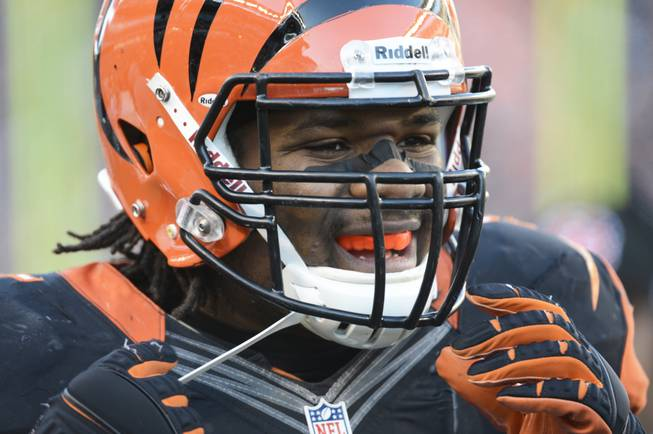 Cincinnati Bengals outside linebacker Vontaze Burfict puts on his helmet during an NFL football game against the Baltimore Ravens, Sunday, Dec. 30, 2012, in Cincinnati.