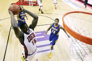 UNLV forward Anthony Bennett sails in for a dunk against Cal State Bakersfield during their game Saturday, Jan. 5, 2013, at the Thomas & Mack Center. UNLV won the game 84-63.