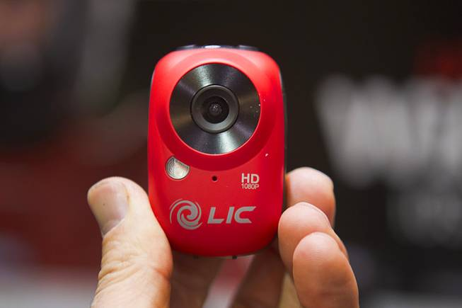 An EGO video camera is displayed at the opening press event of the 2013 International CES at the Mandalay Bay Convention Center Sunday, January 6, 2013. The Wi-Fi enabled camera mountable Full HD camera has live view features through a smart device. The camera retails for $179.00.