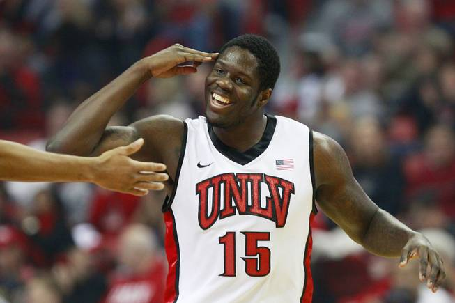 UNLV forward Anthony Bennett salutes after a play against Cal State Bakersfield during their game Saturday, Jan. 5, 2013 at the Thomas & Mack Center. UNLV won their non-conference finale 84-63.