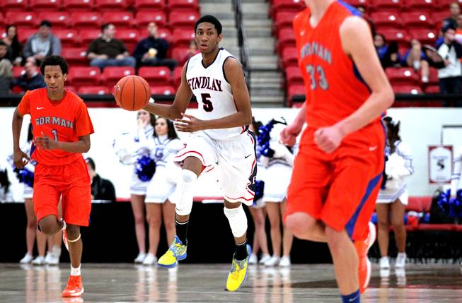 Christian Wood of Findlay Prep runs down the court during their boys basketball game against Bishop Gorman at the South Point Arena in Las Vegas on Monday, January 7, 2013.