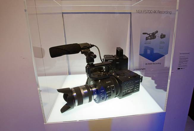 A Sony NEX-FS700 camcorder is displayed during a Sony news conference at the 2013 International CES in the Las Vegas Convention Center Monday, January 7, 2013. The camera will be able to record in 4K after a firmware upgrade expected this summer, a representative said.