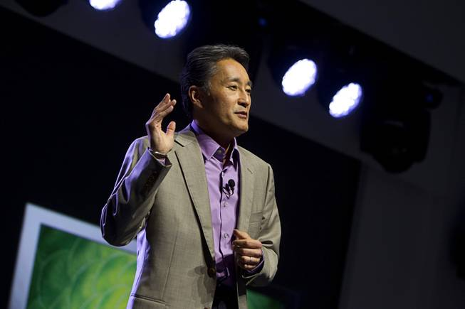 Kazuo Hirai, president and CEO of Sony Corporation, speaks during a Sony news conference at the 2013 International CES in the Las Vegas Convention Center Monday, January 7, 2013.
