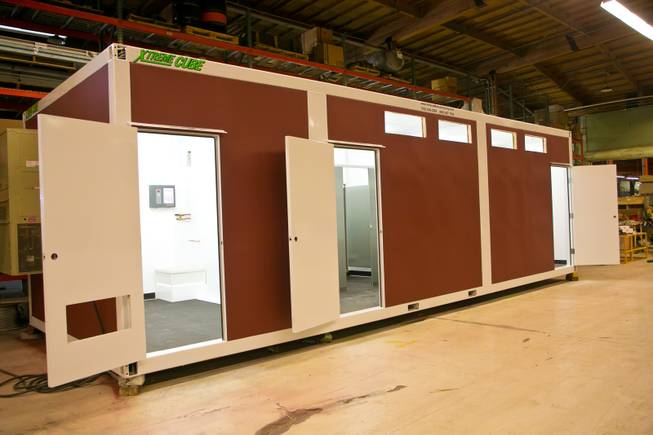 A look at one of the structures, a restroom facility, that will be used in the Downtown Container Park, Monday Jan. 7, 2013.