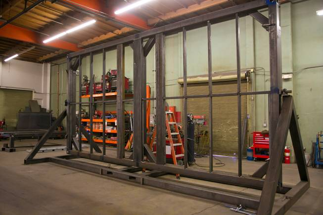 A look at the construction of Xtreme Manafacturing's Cube, a modular-based structure, inside the company's facility here in Las Vegas, Monday Jan. 7, 2013.