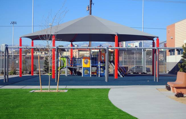The playground is shown here at Variety School's new campus, at 2800 East Stewart Ave., on Monday, Jan. 7, 2013. The replacement school features kitchen facilities, a mock apartment and laundry facilities to teach life and vocational skills to special-needs students.