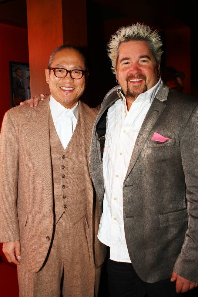 Masahara Morimoto and Guy Fieri at Gordon Ramsay Pub & Grill in Caesars Palace on Sunday, Jan. 6, 2013.