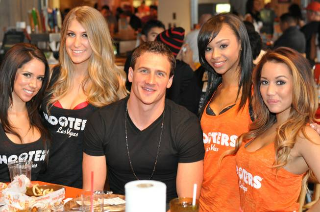 Ryan Lochte and Hooters Girls at Hooters Casino Hotel.