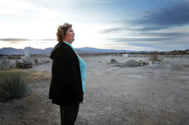 CEO Kelly DeGuzman looks out towards land that will be developed as part of New Vista Ranch in Las Vegas on Monday, January 7, 2013.