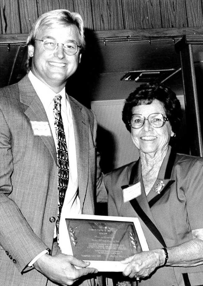 Gene Segerblom pictured with Sen. Dean Heller on October 12, 1995, receiving the Common Cause Award.
