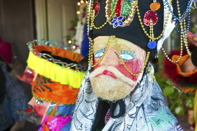 This traditional Morelas dance mask has a blond beard, beads and depictions of the Virgin of Guadalupe and a dove. The Comparza Morelense, a cultural dance troupe from Las Vegas, has been invited to perform at President Obama's inauguration parade on January 21.