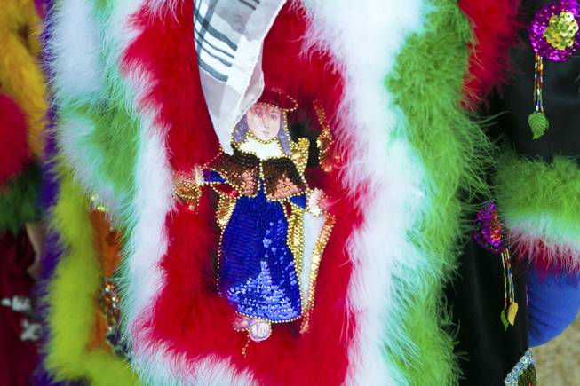"A saint is depicted on the side of this traditional Morelos, Mexico Chinelo, dancer, mask, Tuesday, Jan. 8, 2013. The ""Comparza Morelense,"" a local Las Vegas cultural dance troupe, has been invited to perform at President Obama's inauguration parade on January 21."