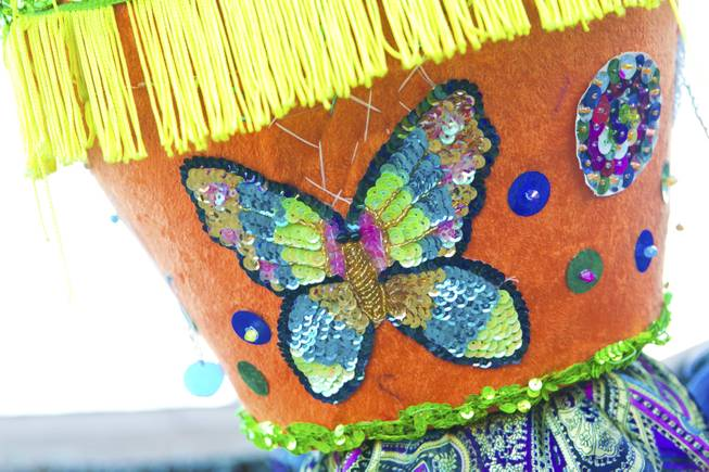 "A sequenced butterfly decorates the side of this traditional Morelos, Mexico Chinelo, dancer, mask, Tuesday, Jan. 8, 2013. The ""Comparza Morelense,"" a local Las Vegas cultural dance troupe, has been invited to perform at President Obama's inauguration parade on January 21."