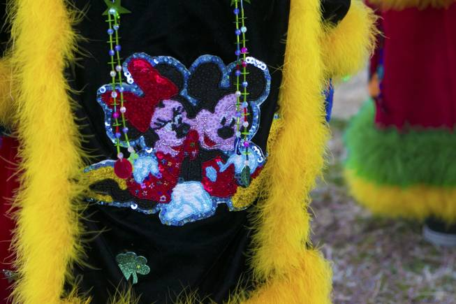 "A sequenced and beaded Minney and Mickey decorate the side of this traditional Morelos, Mexico Chinelo, dancer, mask, Tuesday, Jan. 8, 2013. The ""Comparza Morelense,"" a local Las Vegas cultural dance troupe, has been invited to perform at President Obama's inauguration parade on January 21."
